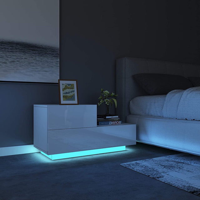 L Shaped LED Bedside Table – WHITE