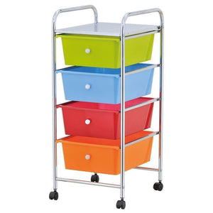 4 DRAWER CHROME STORAGE TROLLEY ON WHEELS