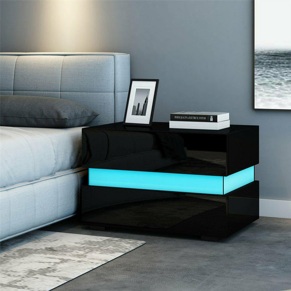 LED Bedside Table - Black