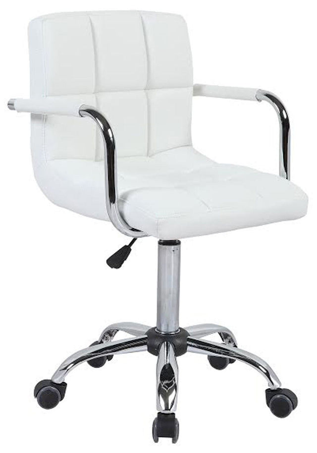PU Faux Leather Swivel Wheels Chair - White