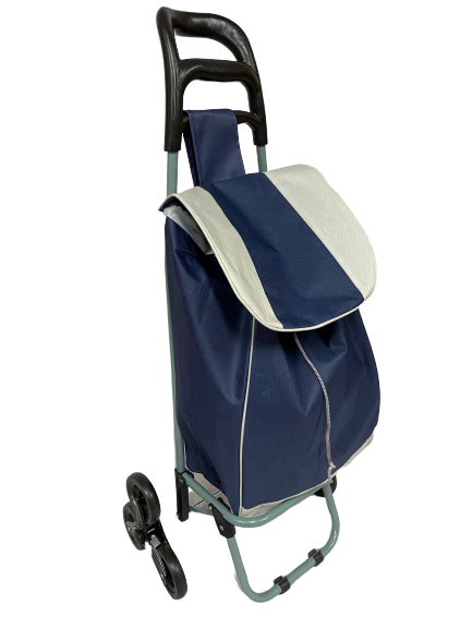3 WHEEL SHOPPING TROLLEY - NAVY