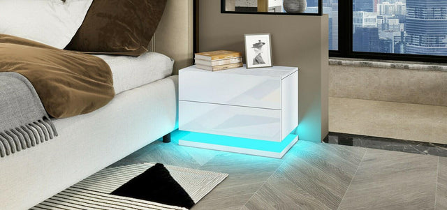 2 Drawer LED Bedside Table – White