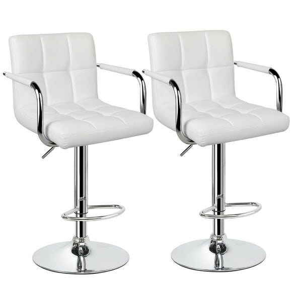 SET OF 2 CUBAN BAR STOOL WITH ARMS - WHITE