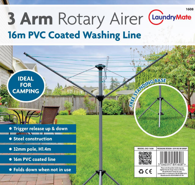3 Arm 16M Rotary Airer