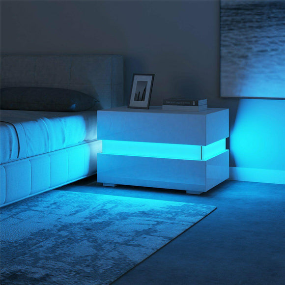 LED Bedside Table - White