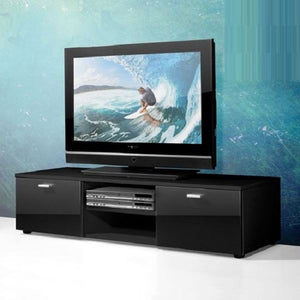 HIGH GLOSS TV CABINET UNIT BLACK