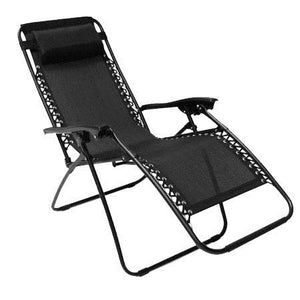 FOLDING GRAVITY SUN LOUNGER CHAIR RECLINER BLACK SINGLE