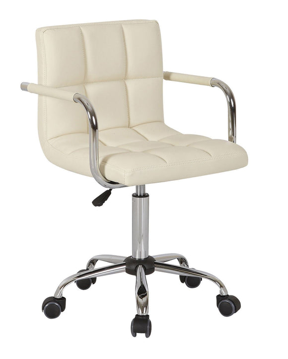 PU Faux Leather Swivel Wheels Chair - Cream