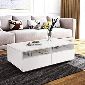 4 Drawer High Gloss Coffee Table – White