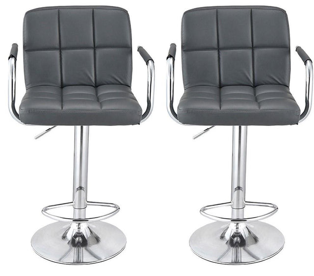 SET OF 2 CUBAN BAR STOOL WITH ARMS - GREY