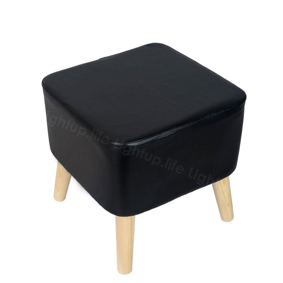 SQUARE FOOTSTOOL LARGE - BLACK PU FAUX LEATHER