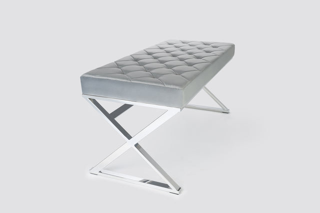 SHIN QUILTED BENCH - GREY