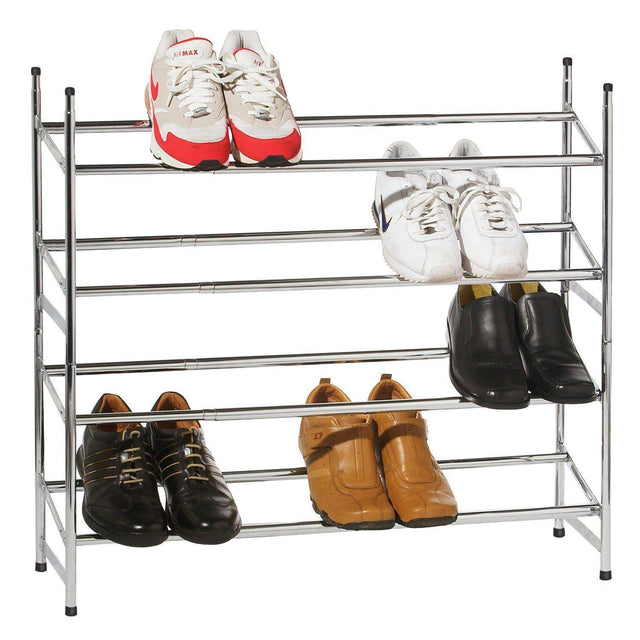 4 TIER CHROME EXTENDING SHOE RACK