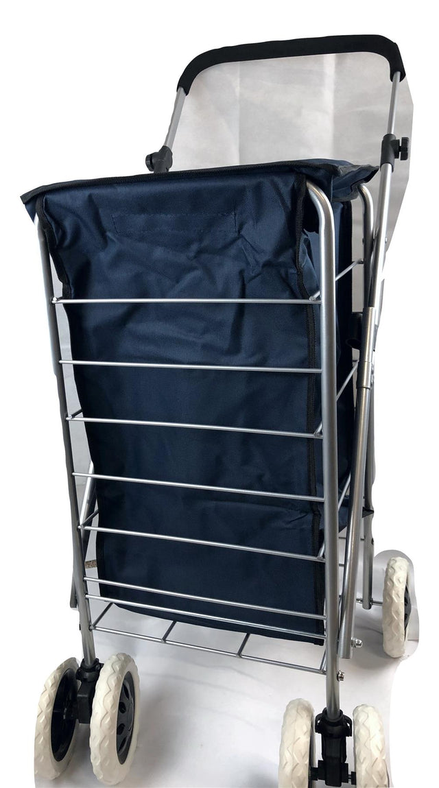 6 WHEEL SHOPPING TROLLEY - NAVY