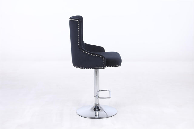 BUTTON BACK STUDDED BAR CHAIR - Black