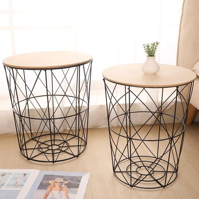 METAL WIRE BASKET WOOD TOP - BLACK & COPPER