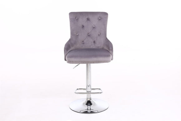 BUTTON BACK STUDDED BAR CHAIR - GREY