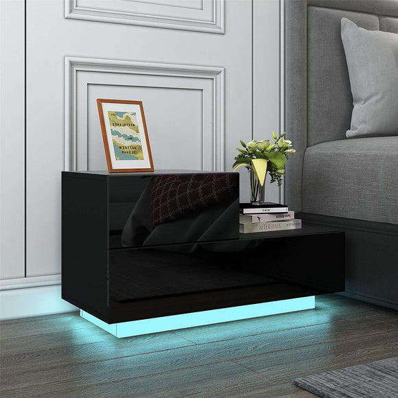 L Shaped LED Bedside Table – Black