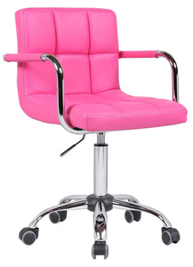 PU Faux Leather Swivel Wheels Chair - Pink