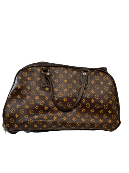 COFFEE STAR PRINT WHEELED HOLDALL - SMALL