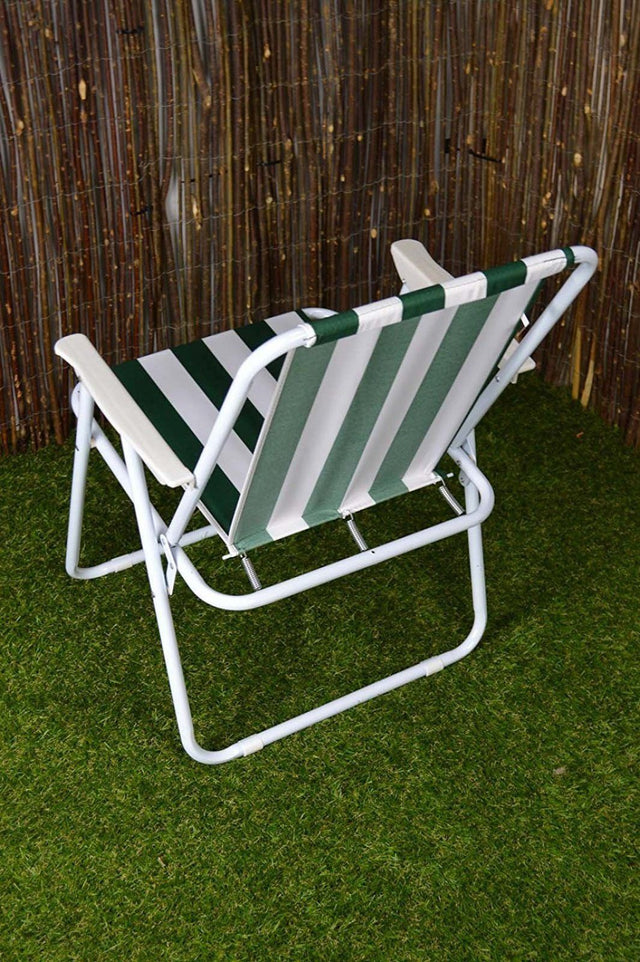 Redwood Green Stripe Folding Camp Chair