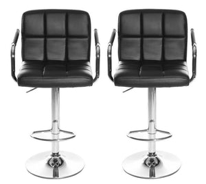 SET OF 2 CUBAN BAR STOOL WITH ARMS - BLACK