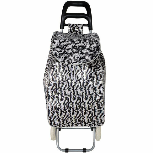 Zebra Animal Stripe Print 2 Wheel Shopping Trolley