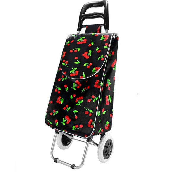 2 Wheel Shopping Trolley - Black with Cherrys