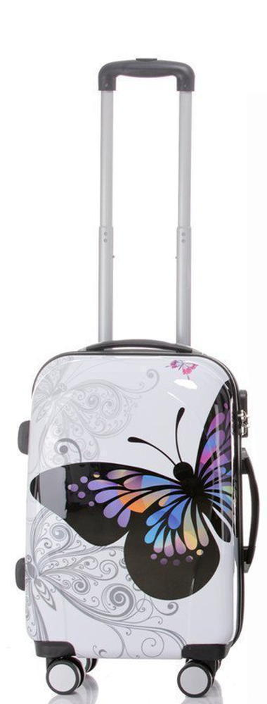 Butterfly Hard Shell 4 Wheel Spinner Suitcase - White