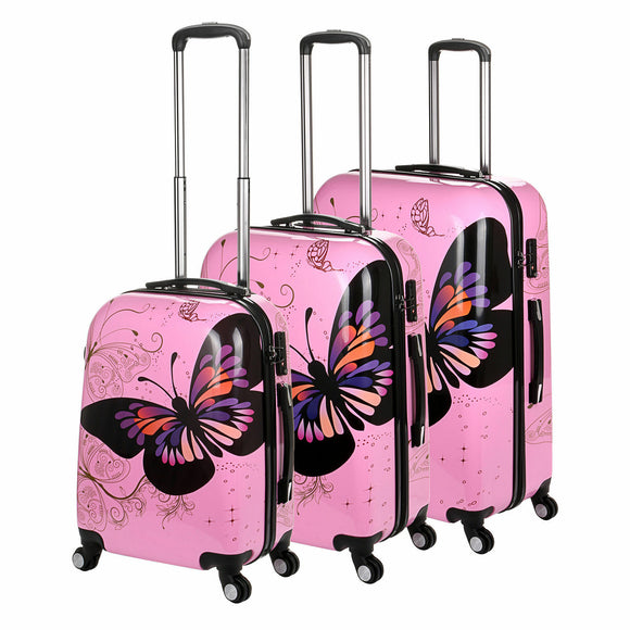 Butterfly Hard Shell 4 Wheel Spinner Suitcase - Pink