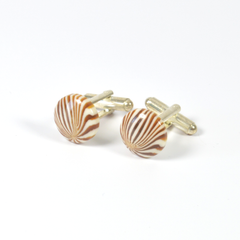 Cufflinks Sliver plated backed with a Brown & White Patten