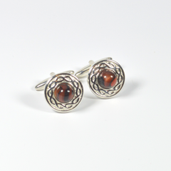 Cufflinks Sliver plated backed with a Dark Orange Centre