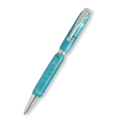 Slimline Sliver Plated Pen (Acrylic Sea Green )
