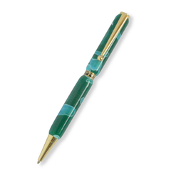 Slimline Gold Plated Pen (Acrylic Sea Green )