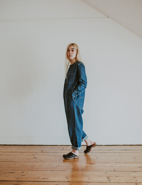 denim jumpsuit with black low classic style swedish clog