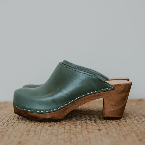 Agave green mid heel classic style women's swedish clog