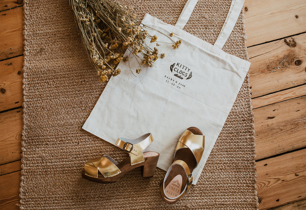 personalised handprinted bridal canvas bag