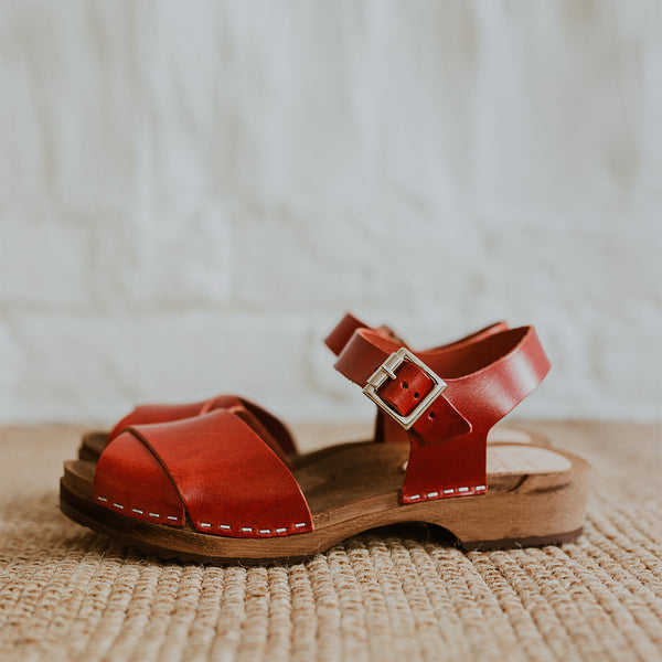 brandy red leather low cross over dansare clog sandal