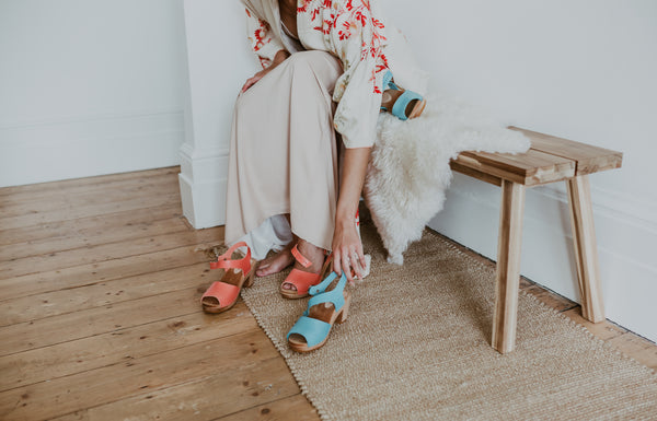 peach pink and blue lagoon coloured peep toe bridal clogs