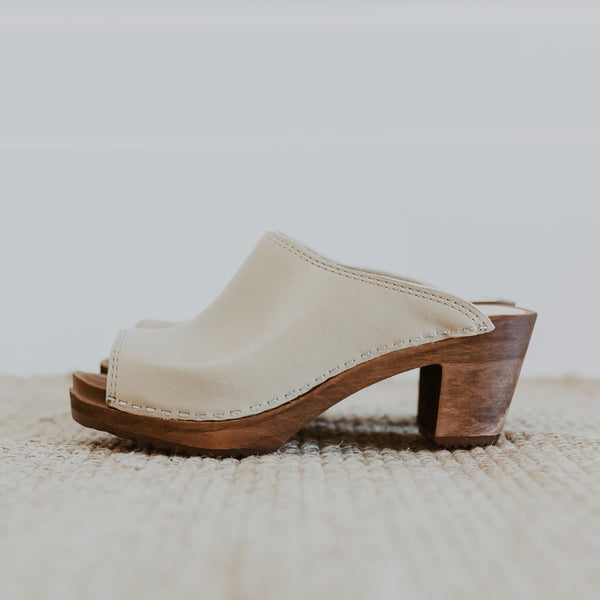 bridal wedding classic style stone swedish clog with a peep toe