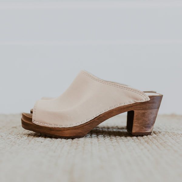 bridal wedding classic style natural swedish clog with a peep toe
