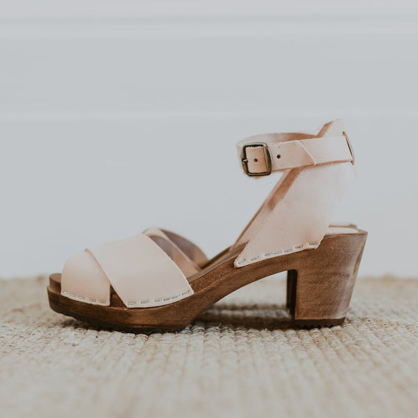 bridal wedding natural undyed leather clog sandals with a mid heel and an ankle strap