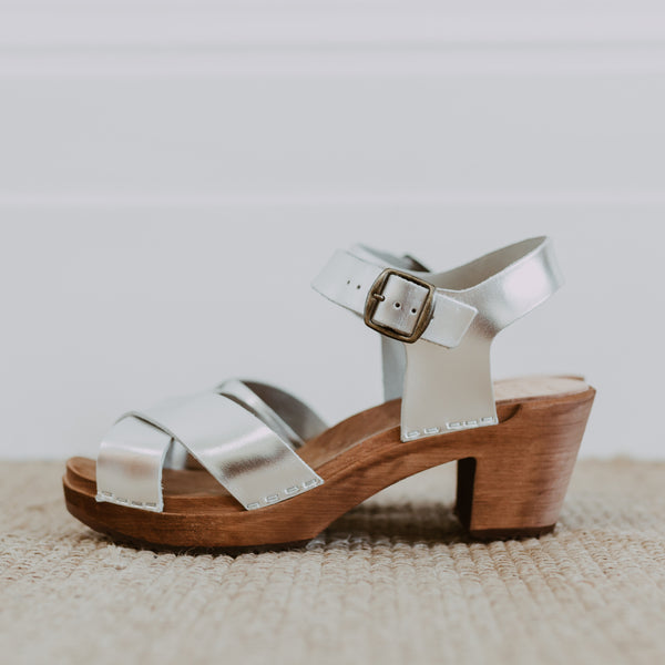 bridal wedding silver leather crossover sandal swedish clog