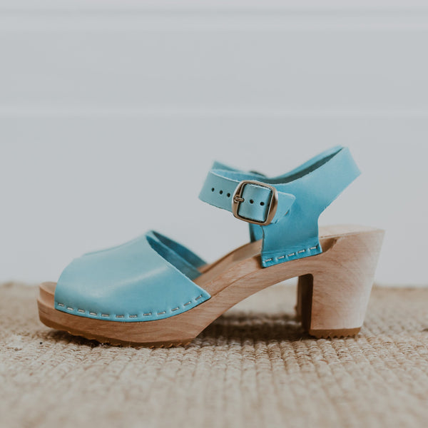bridal wedding lagoon pale blue mid heel peep toe clog sandals