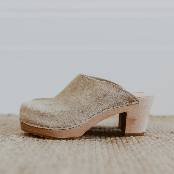 bridal wedding sand suede classic-style swedish clogs