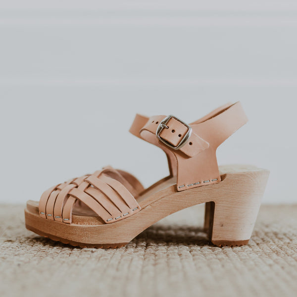bridal wedding natural woven swedish clog sandal