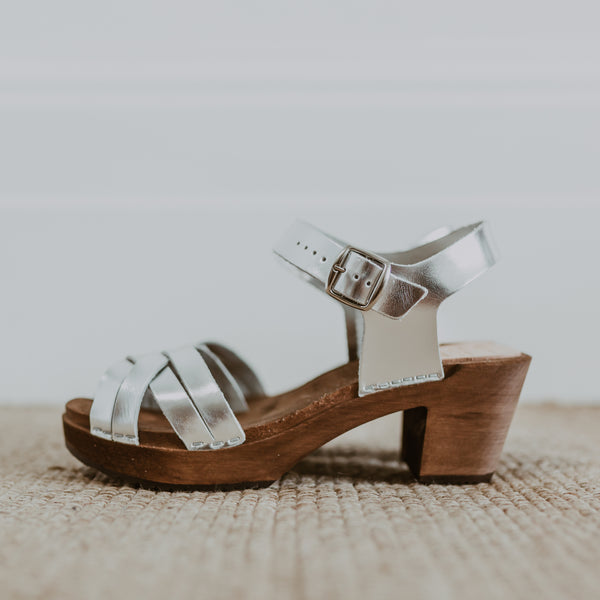 bridal wedding silver leather woven cross over clog sandals