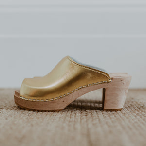 bridal wedding classic style gold swedish clog with a peep toe