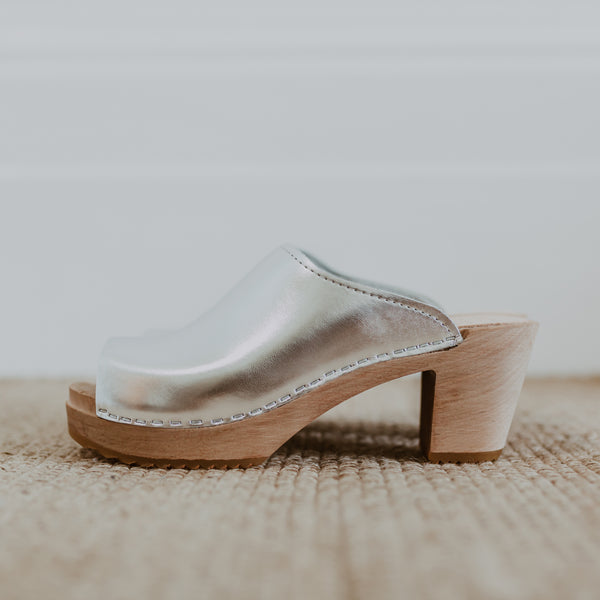 bridal wedding classic style silver swedish clog with a peep toe