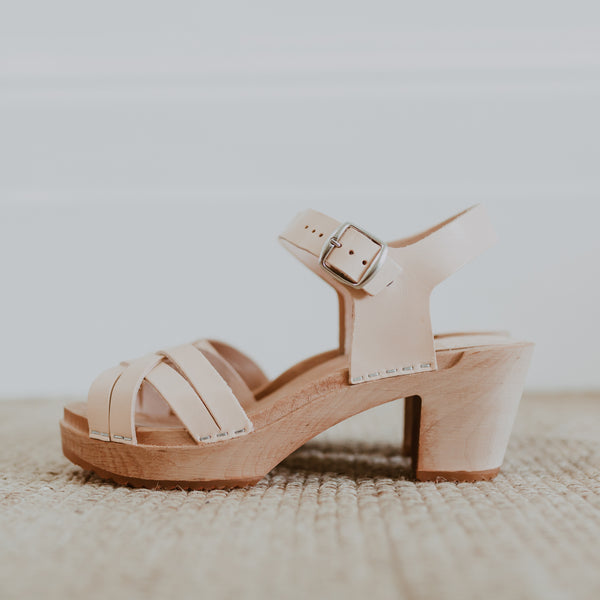 bridal wedding natural undyed leather woven cross over clog sandals